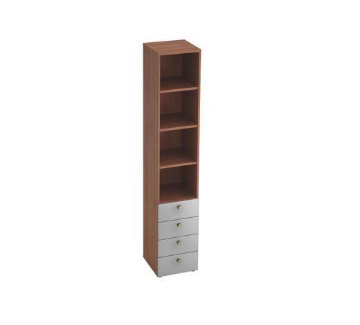 REGAL in Silberfarben, Nussbaumfarben - Silberfarben/Nussbaumfarben, KONVENTIONELL, Holzwerkstoff/Metall (40/215,6/42cm)