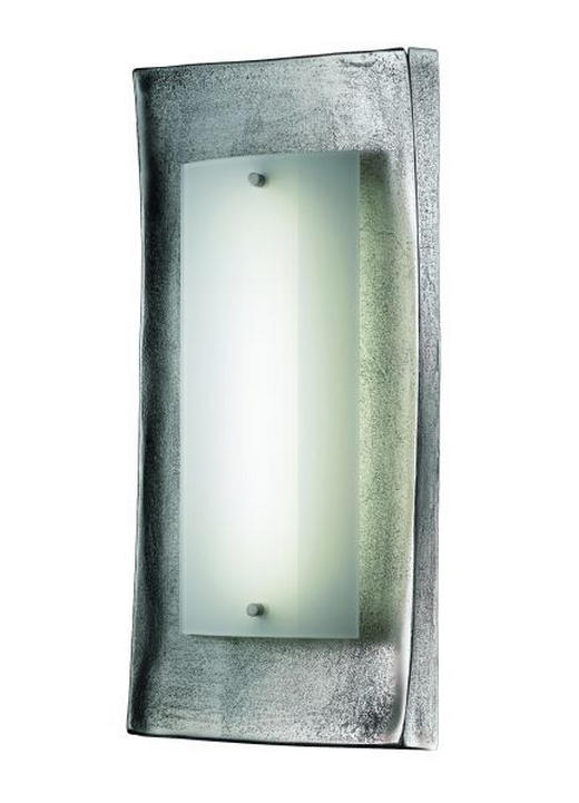 LED-WANDLEUCHTE - Opal/Nickelfarben, Design, Glas/Metall (18,5/42cm)