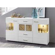 KOMODA, bela, hrast - bela/hrast, Design, kovina/umetna masa (170/94/42cm) - Hom`in