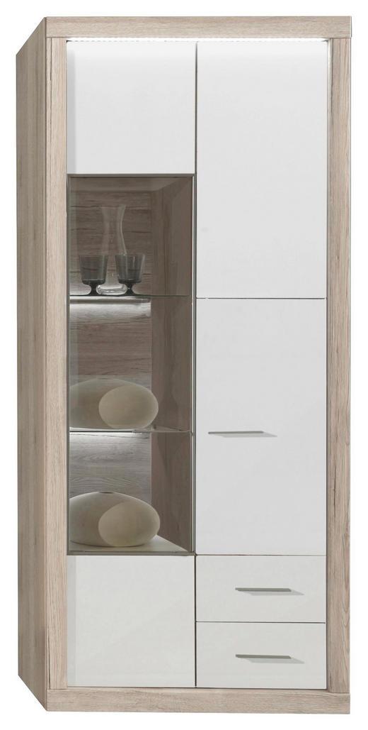 VITRINE Eiche Eichefarben, Weiß - Chromfarben/Eichefarben, Design, Glas/Holzwerkstoff (86/198,1/41,2cm) - XORA