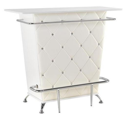 BAR Weiß  - Chromfarben/Weiß, Design, Holzwerkstoff/Textil (120/104/52cm) - Kare-Design