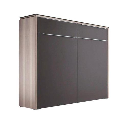 KOMMODE furniert lackiert Braun, Eschefarben  - Eschefarben/Silberfarben, Design, Glas/Holzwerkstoff (119/108/36cm) - Cassando