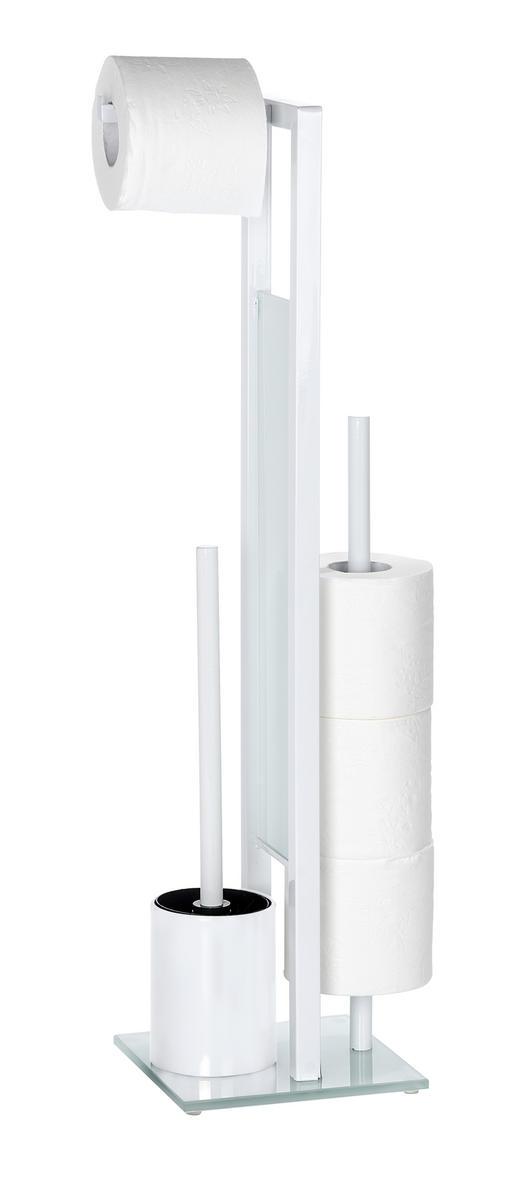 TOILETTENPAPIERHALTER - Silberfarben/Weiß, Design, Glas/Kunststoff (20/70/18cm)