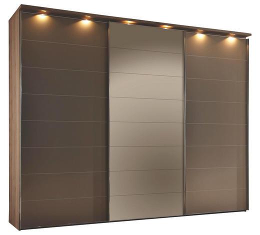 SCHWEBETÜRENSCHRANK 3-türig Eichefarben, Bronzefarben - Chromfarben/Eichefarben, Design, Glas/Holzwerkstoff (298/240/68cm) - Moderano
