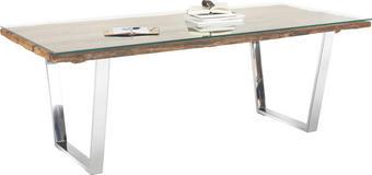 STOL ZA BLAGOVAONICU - boje srebra/prozirno, Design, staklo/drvo (210/100/76cm) - NOVEL