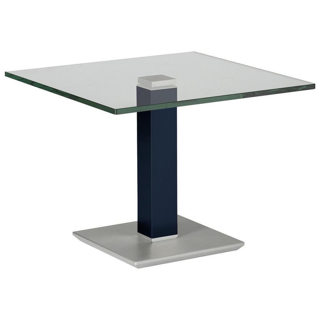 XXXLutz Beistelltisch quadratisch blau, edelstahlfarben , Rimini Deluxe , Metall, Glas , 60x46-65 cm , lackiert,klar , höhenverstellbar , 000255002544