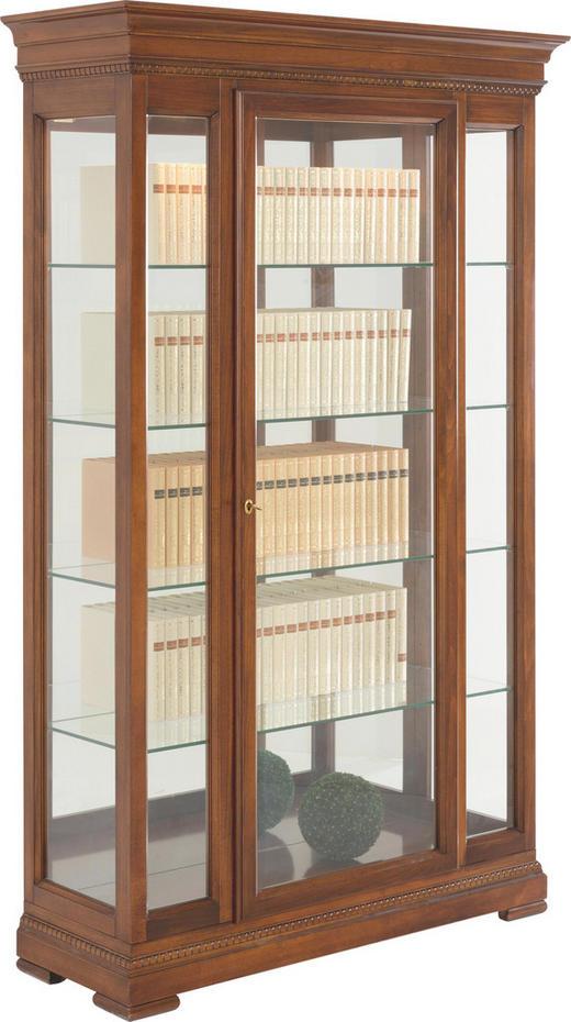 VITRINE in furniert, massiv Kirschbaum, Linde Nussbaumfarben - Nussbaumfarben, LIFESTYLE, Glas/Holz (123/198/44cm) - Selva