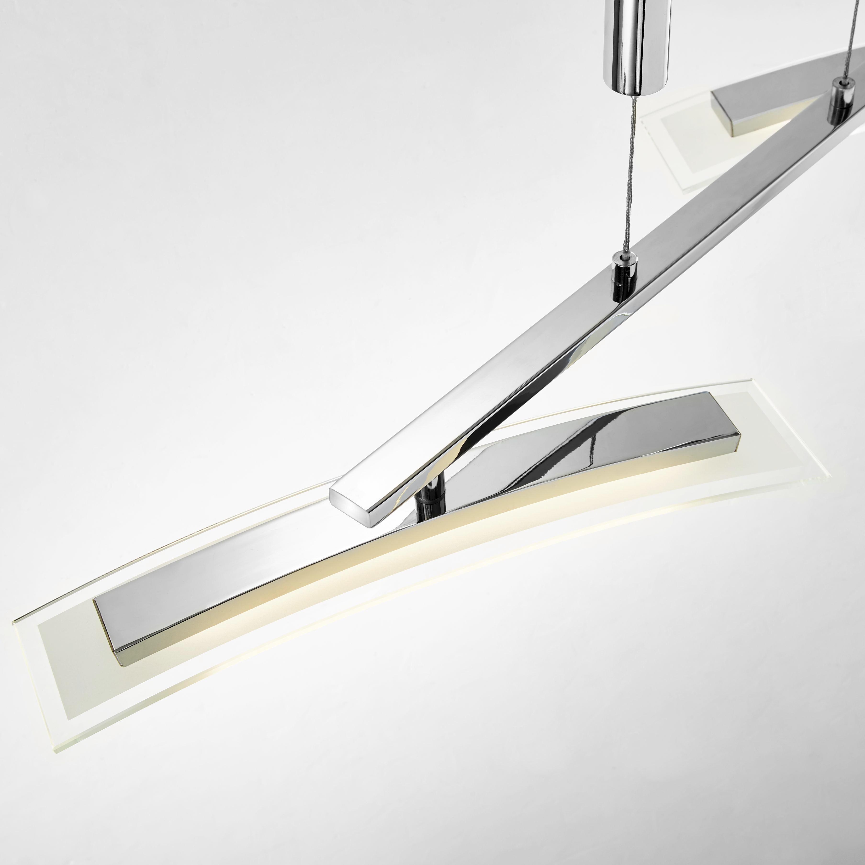 LED-HÄNGELEUCHTE - Chromfarben, KONVENTIONELL, Glas/Metall (90/8/170cm) - NOVEL