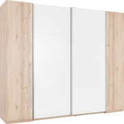 SCHWEBETÜRENSCHRANK in Buchefarben, Weiß - Buchefarben/Alufarben, Design, Holzwerkstoff/Kunststoff (270/225/61cm) - TI`ME