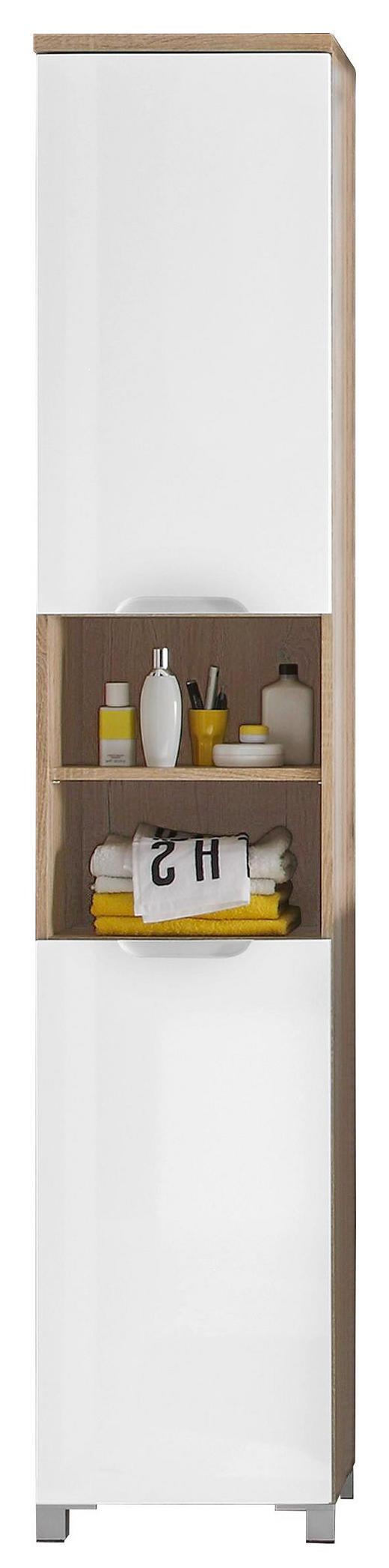 HOCHSCHRANK Weiß - Eichefarben/Silberfarben, Design, Holz/Holzwerkstoff (40/194/32cm) - Xora