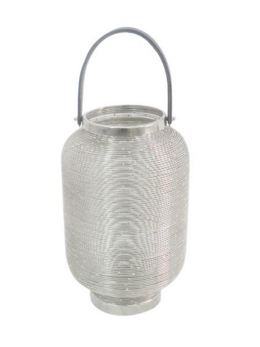 LATERNE - Nickelfarben, Basics, Textil/Metall (22/27cm) - Ambia Home