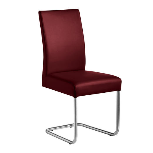 SCHWINGSTUHL Lederlook Edelstahlfarben, Rot - Edelstahlfarben/Rot, Design, Textil/Metall (48/99/69cm) - Valnatura
