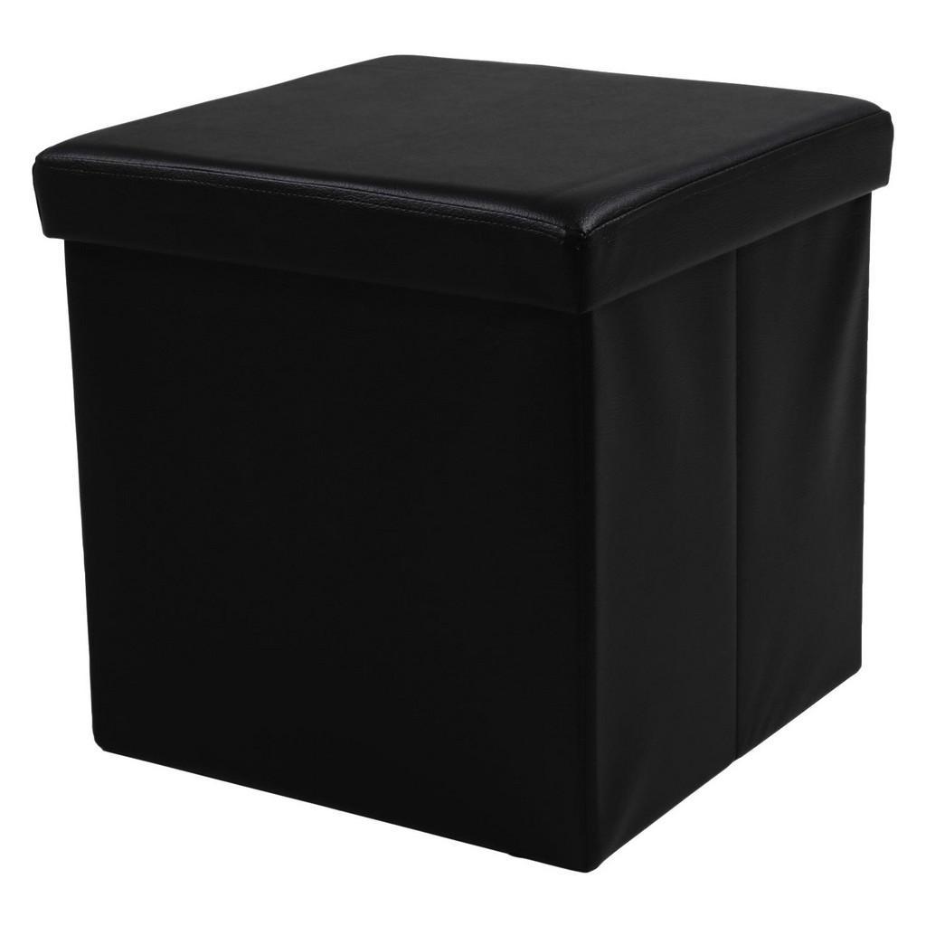 Carryhome SITZWÜRFEL Lederlook Schwarz | Wohnzimmer > Hocker & Poufs > Sitzwürfel | Schwarz | Textil | Carryhome