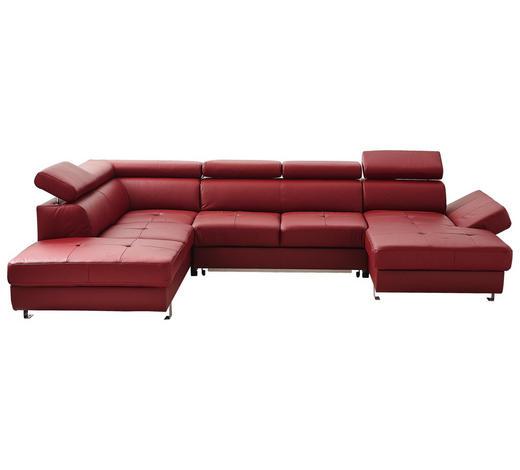 WOHNLANDSCHAFT in Textil, Leder Bordeaux - Chromfarben/Bordeaux, Design, Leder/Textil (223/334/168cm) - Stylife