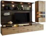 WOHNWAND in Eichefarben, Rostfarben  - Eichefarben/Rostfarben, Design, Glas/Holz (325/198/56cm) - Moderano