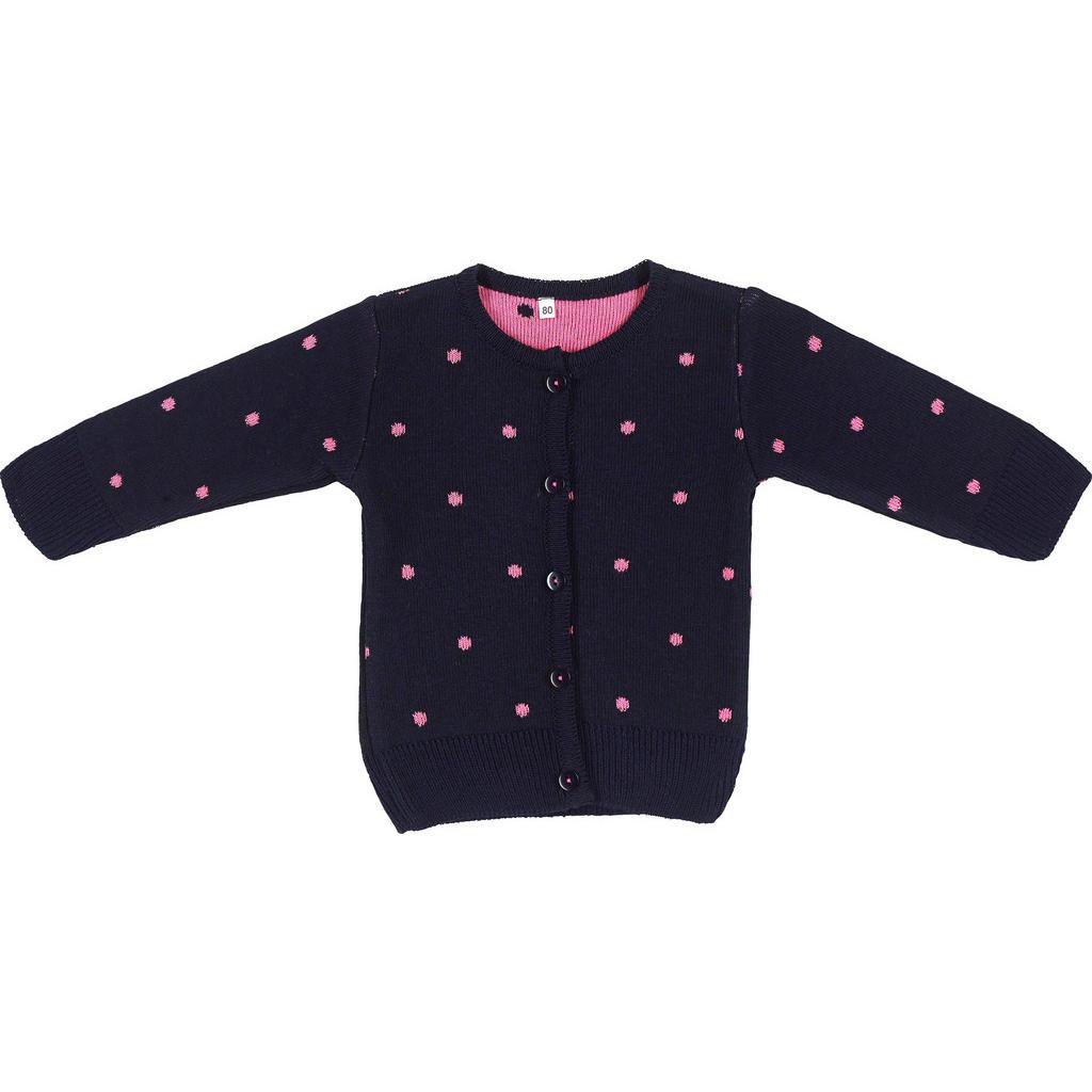 Dunkelblaue Strickjacke mit pinken Sternen von My Baby Lou