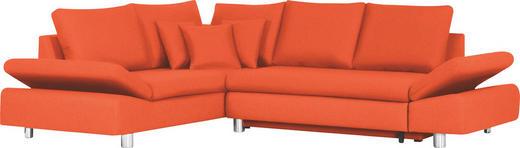 Ecksofa Orange Bettkasten, Rückenkissen, Schlaffunktion, Zierkissen - Chromfarben/Orange, Design, Textil/Metall (222/283cm) - Carryhome