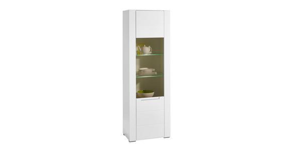 VITRINE in Weiß - Silberfarben/Weiß, Design, Glas/Holzwerkstoff (66/198/41cm) - Hom`in