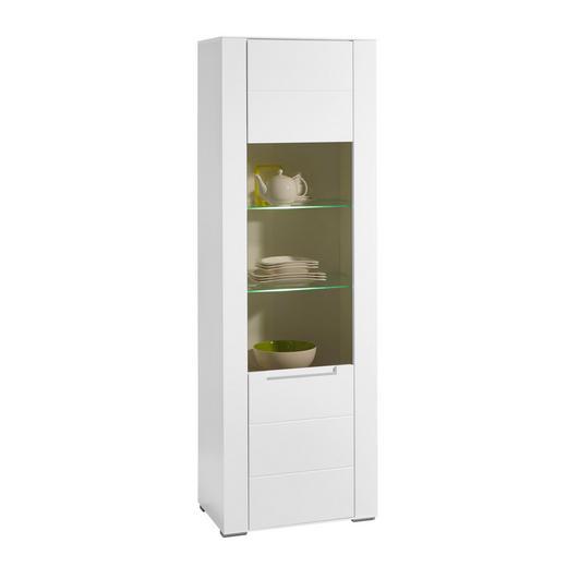 VITRINE Weiß - Silberfarben/Weiß, Design, Glas/Holzwerkstoff (66/198/41cm) - Hom`in