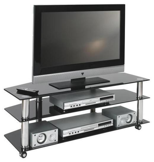TV-RACK Glas, Metall Chromfarben, Schwarz - Chromfarben/Schwarz, Design, Glas/Kunststoff (110/40/45cm)