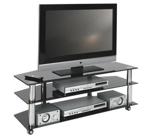 TV-RACK in Schwarz, Chromfarben - Chromfarben/Schwarz, Design, Glas/Kunststoff (110/40/45cm)