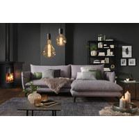 SEDACÍ SOUPRAVA, textil, světle šedá - černá/světle šedá, Design, kov/textil (259/175cm) - Hom`in