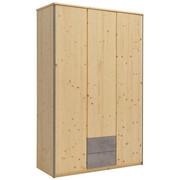 DREHTÜRENSCHRANK in massiv Fichte Fichtefarben, Grau - Fichtefarben/Alufarben, KONVENTIONELL, Holz/Metall (136/214/60cm) - Linea Natura
