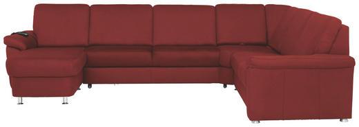 WOHNLANDSCHAFT Rot - Chromfarben/Rot, KONVENTIONELL, Textil/Metall (163/330/240cm) - Beldomo System
