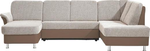 WOHNLANDSCHAFT Lederlook, Webstoff - Chromfarben/Braun, KONVENTIONELL, Kunststoff/Textil (164/301/200cm) - Xora