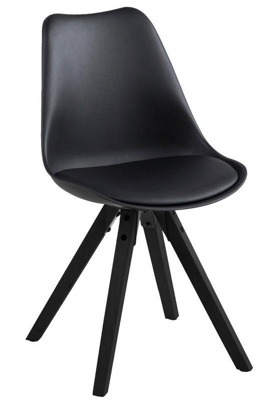 STUHL Lederlook Schwarz - Schwarz, Design, Holz/Kunststoff (48/82/56cm) - Carryhome