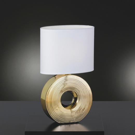 TISCHLEUCHTE - Goldfarben/Weiß, KONVENTIONELL, Keramik/Textil (38cm)