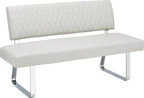 SITTBÄNK - kromfärg/ljusgrå, Design, metall/textil (161/90/62cm) - Modern Living