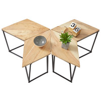BEISTELLTISCHSET in Holz, Metall 42/25/40 cm - Schwarz/Akaziefarben, Design, Holz/Metall (42/25/40cm) - Carryhome