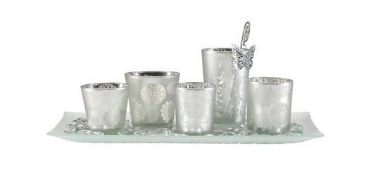 TEELICHTHALTER - Silberfarben, Basics, Glas/Metall (36/19/1,8cm) - Ambia Home