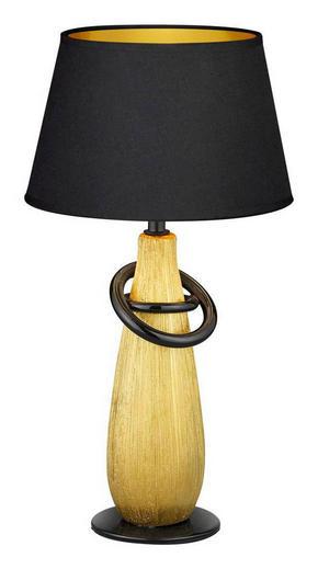 BORDSLAMPA - svart/guldfärgad, Klassisk, textil/keramik (24/35cm) - Boxxx
