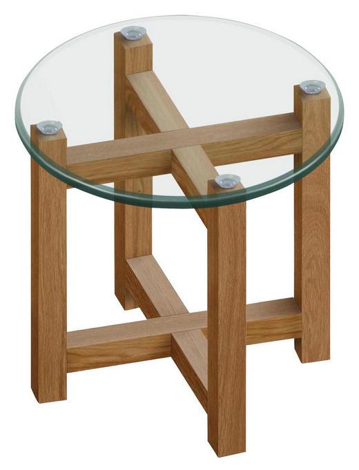BEISTELLTISCH Eiche massiv rund Eichefarben - Eichefarben, Basics, Glas/Holz (50/50cm) - Carryhome