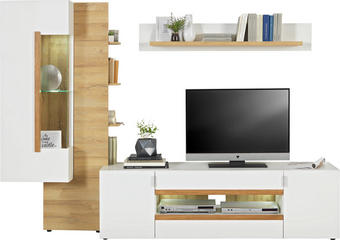 REGAL ZA DNEVNI BORAVAK - bijela/boje hrasta, Design, staklo/drvni materijal (250/181/44cm) - HOM IN