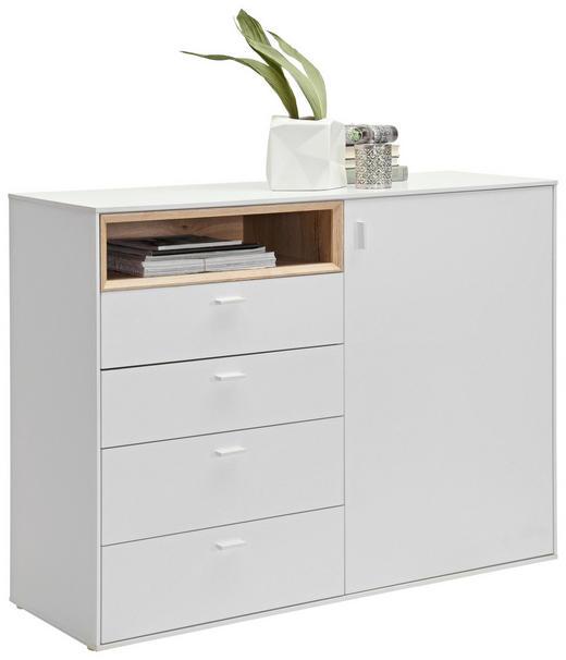 KOMMODE Eichefarben, Weiß - Eichefarben/Silberfarben, Design, Holzwerkstoff/Kunststoff (121/92,8/43cm) - Hom`in