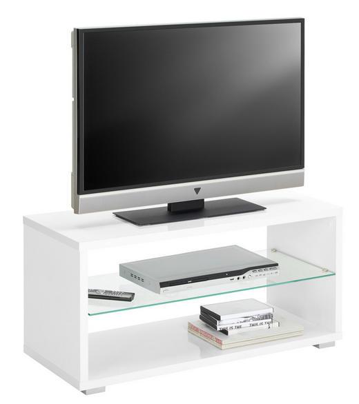 TV-ELEMENT Weiß - Alufarben/Weiß, Design, Glas/Kunststoff (92/45/39cm) - Carryhome