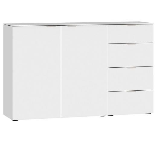 SIDEBOARD Weiß  - Edelstahlfarben/Schwarz, Design, Glas/Holzwerkstoff (135/87/43cm) - Jutzler