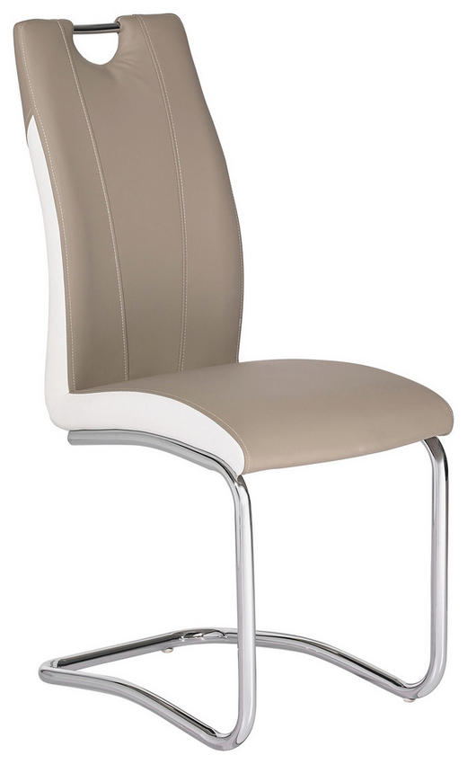 STUHL Lederlook Hellbraun, Weiß - Chromfarben/Hellbraun, Design, Textil/Metall (44/103/57,50cm) - Carryhome