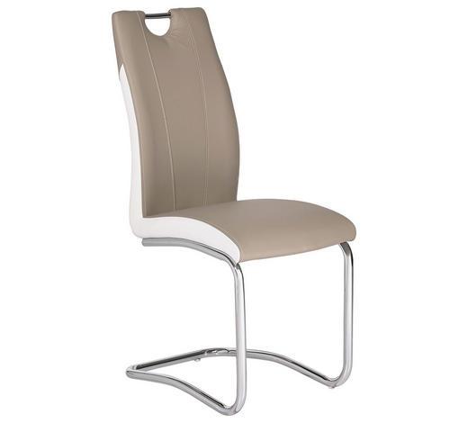 STUHL Lederlook Weiß, Hellbraun - Chromfarben/Hellbraun, Design, Textil/Metall (44/103/57,50cm) - Carryhome