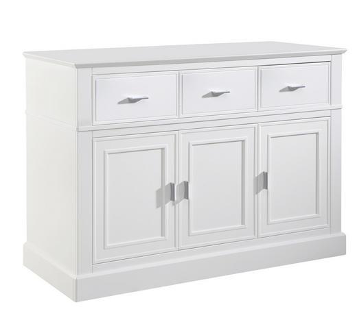 WICKELKOMMODE Isolde Weiß  - Alufarben/Weiß, Trend, Holzwerkstoff/Metall (131,5/92/56cm) - Jimmylee