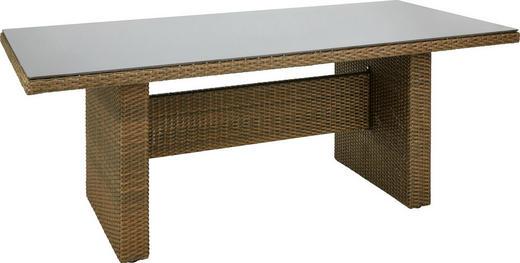 GARTENTISCH Glas, Kunststoff, Metall Braun - Braun, LIFESTYLE, Glas/Kunststoff (200/100/74,5cm) - Ambia Garden