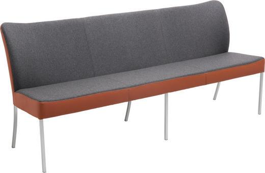 SITZBANK 200/89/65 cm  in Dunkelgrau, Kupferfarben - Edelstahlfarben/Dunkelgrau, Design, Leder/Textil (200/89/65cm) - Bert Plantagie