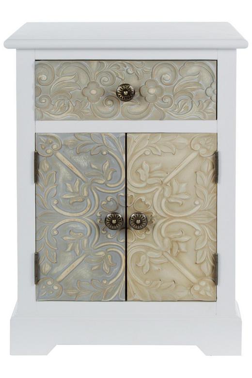 KOMMODE Paulownia Multicolor, Weiß - Multicolor/Weiß, LIFESTYLE, Holz/Metall (45/64/32cm)
