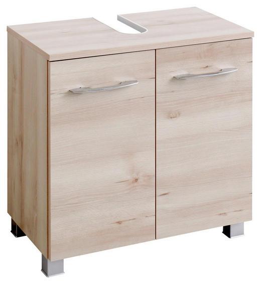 WASCHBECKENUNTERSCHRANK Buchefarben - Chromfarben/Buchefarben, Design, Holzwerkstoff/Metall (60/59/35cm) - Carryhome