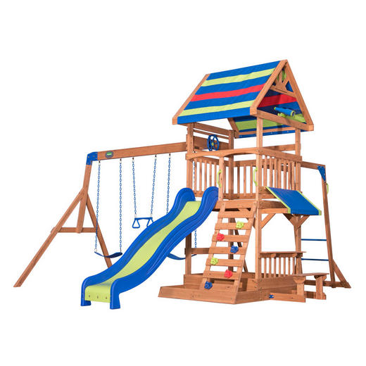 Spielturm Northbrook - Blau/Rot, Basics, Holz (429,3/299,7/136,9cm)