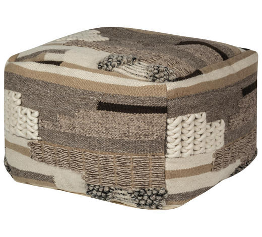 HOCKER in Textil Beige  - Beige, Trend, Textil (80/45/80cm) - Ambia Home