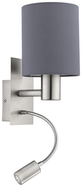 LED VÄGGLAMPA - grå/nickelfärgad, Design, metall/textil (15/19,5/38cm)